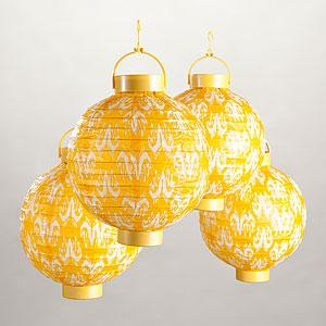 Yellow Ikat Battery Operated Lanterns Pack Of 4 Lighting Home Decor World Market