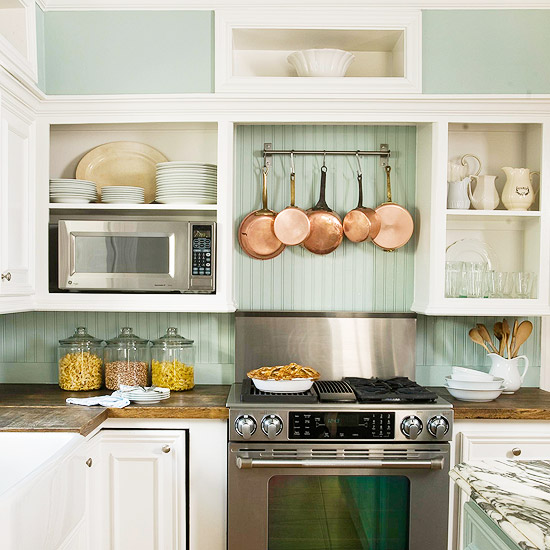 Open Kitchen Cabinets: Green Beadboard Design Ideas