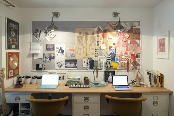 cork board office. Plain Office Office For Two With Gray Bulletin Board Industrial Sconces Wood Top Desk  Supported By White Filing Cabinets And Ar In Cork Board Office