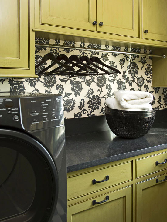 Green And Black Laundry Room Transitional Laundry Room