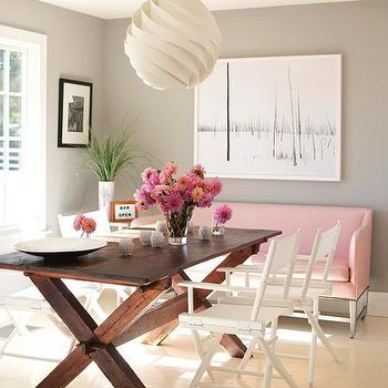 Gray X Base Dining Table With White Leather Chairs Contemporary - X base dining table