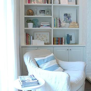 White Slipcovered Chair, Cottage, den/library/office, Amber Interiors