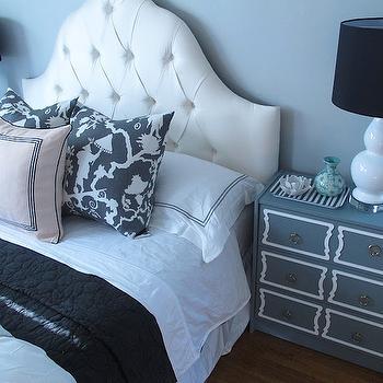 White Tufted Headboard, Contemporary, bedroom, Amber Interiors