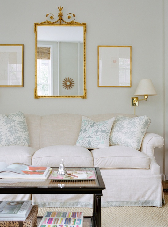 Wall Sconces Over Couch : Mirror over Sofa - Transitional - living room - Ashley Whittaker Design