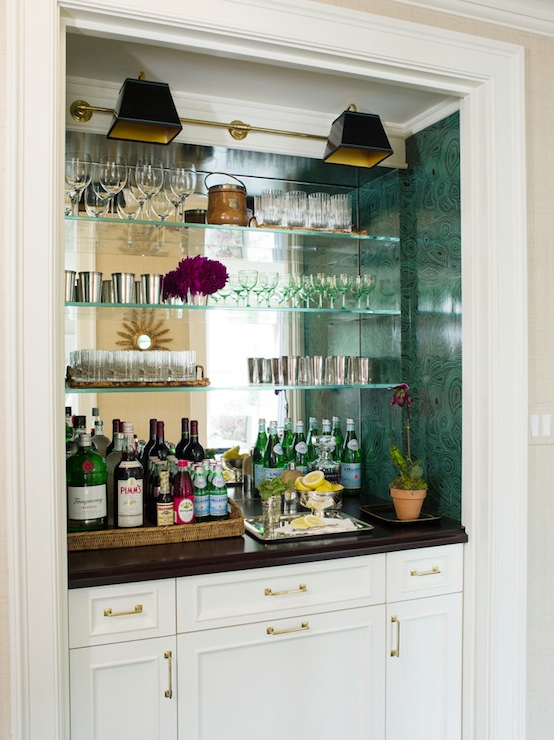Mirrored backsplash transitional dining room ashley whittaker design - Bar built into wall ...