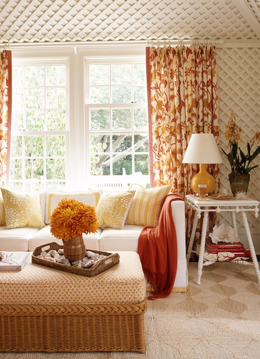 Mustard Yellow Curtains Eclectic Living Room