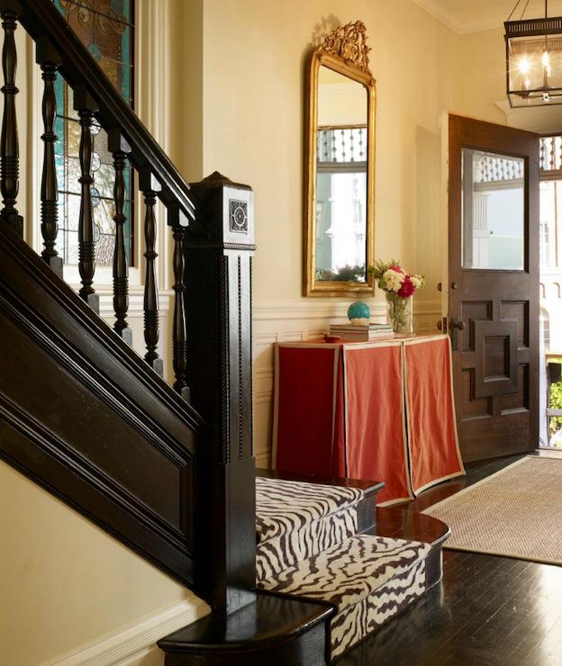 Foyer Table Runner : Zebra stair runner transitional entrance foyer