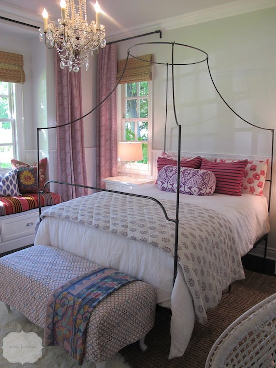 Gorgeous bedroom with Anthropologie Italian Campaign Canopy Bed, chair rail  & beadboard walls, soft green walls paint color, purple ikat bolster  pillow, ... - Amber Ikat Walter Chair - Dining Room FurnitureFurniture - World