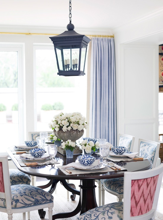 Pink dining chairs eclectic dining room ashley for Pink dining room ideas