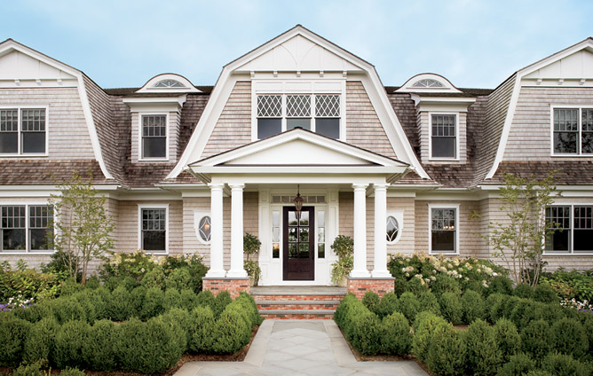 Portico traditional home exterior architectural digest for Architectural digest house plans