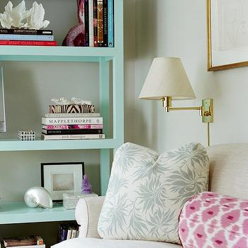 Turquoise Bookcase, Transitional, living room, Ashley Whittaker Design