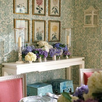 Teal Damask Wallpaper, Eclectic, dining room, Ashley Whittaker Design