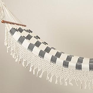 Tassled & Striped Hammock, Natural/Ebony