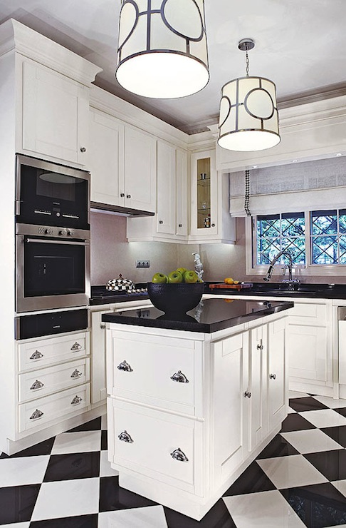Checkered floor contemporary kitchen traditional home for Black and white kitchens photos