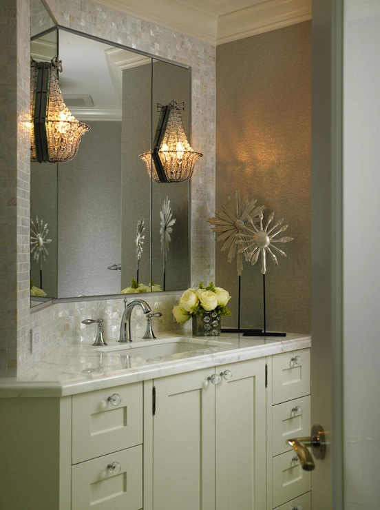 Beaded wall sconce transitional bathroom cindy ray interiors beaded wall sconce mozeypictures Images