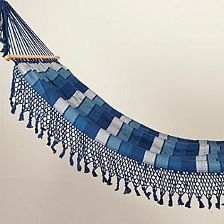 Tassled & Striped Hammock, Cobalt/Turq