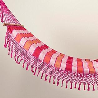 Tassled & Striped Hammock, Orange/Pink/White