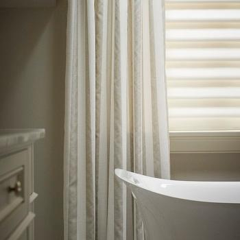 2 Tone Curtains, Transitional, bathroom, Khachi Design Group
