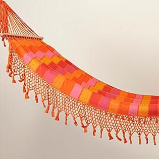 Tassled & Striped Hammock, Orange/Pink
