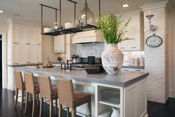 kitchen cabinets, white kitchen island, gray quartz countertops