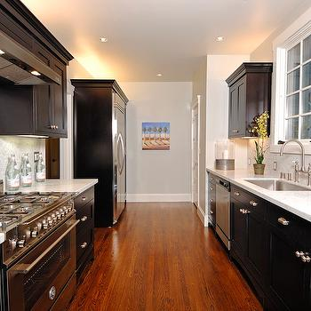 Black and White Galley Kitchen, Contemporary, kitchen, Artistic Designs for Living