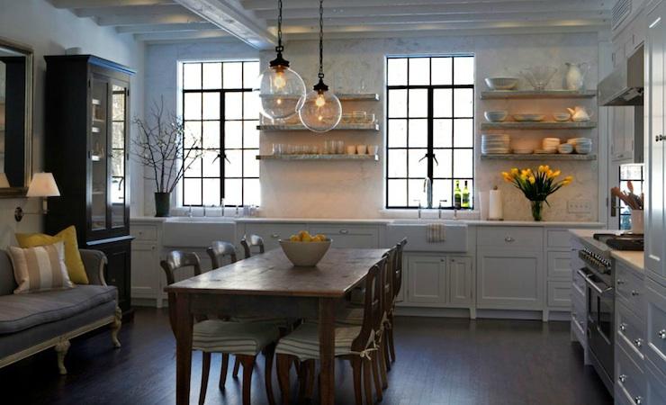 Eat in kitchen transitional kitchen sage design for Eat in kitchen layout
