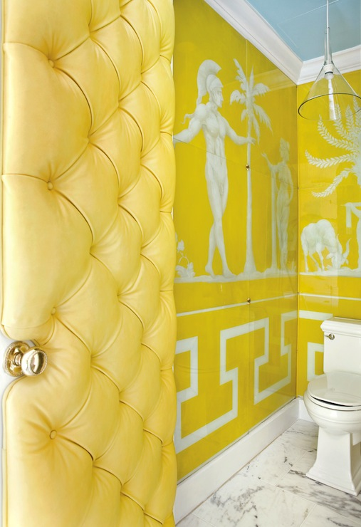 Canary Yellow Bathroom With Blue Ceiling, Canary Yellow Tufted Door, Marble  Tiles Floor And Glossy Yellow Greek Key Wallpaper.