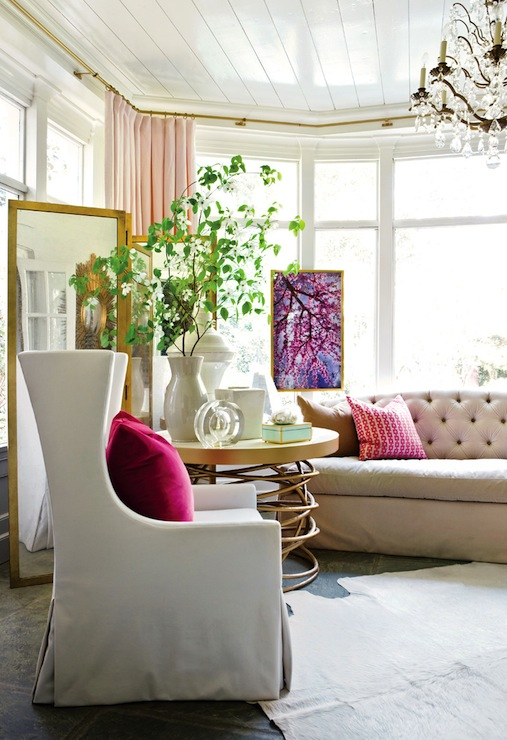 Pink Silk Curtains Contemporary Living Room Atlanta