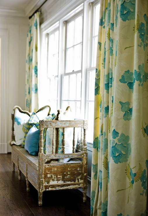 Turquoise And Yellow Drapes Dining Room Meg Adams Interior Design