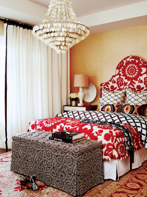 Chic, Eclectic Bedroom With Gold Grasscloth Wallpaper, White U0026 Red  Headboard U0026 Matching Blanket, White U0026 Brown Lattice Duvet, Red U0026 Yellow  Wool Rug, ...