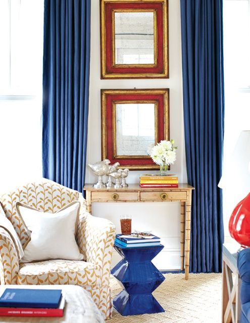 Blue Curtains Transitional Living Room Style At Home