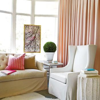 Pink Silk Curtains, Contemporary, living room, Atlanta Homes & Lifestyles