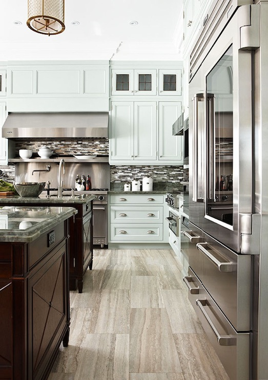 Blue Gray Kitchen Cabinets Contemporary Kitchen Traditional Home - Traditional grey kitchen cabinets
