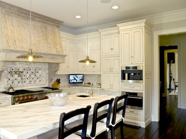 Antique White Kitchen Cabinets Transitional Kitchen