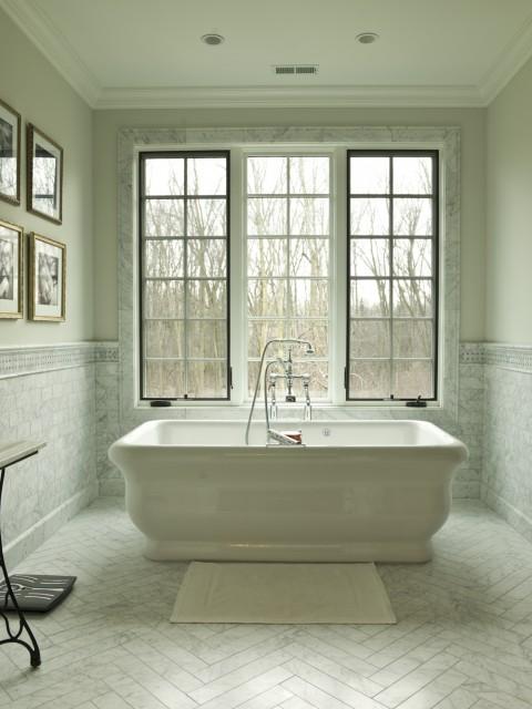 Marble herringbone floor transitional bathroom for French provincial bathroom designs