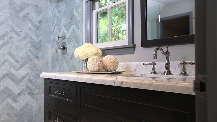 Black Vanity With White Marble Countertop Contemporary