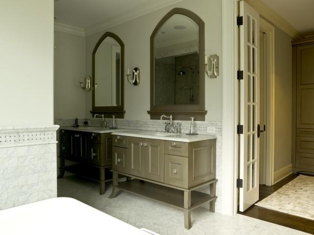 taupe bathroom cabinets transitional bathroom. Black Bedroom Furniture Sets. Home Design Ideas