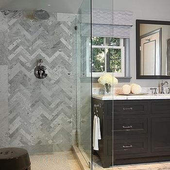Herringbone Backsplash, Contemporary, bathroom, Jeff Lewis Design