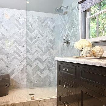 Herringbone Shower Surround, Contemporary, bathroom, Jeff Lewis Design