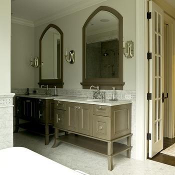 Taupe Bathroom Cabinets, Transitional, bathroom, Cynthia Lynn Photography