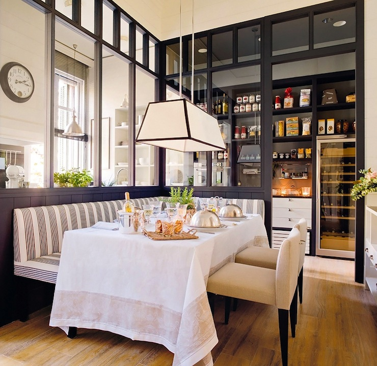 Dining Banquette Part - 28: Fabulous White And Gray Striped Banquette, Short Back Linen Dining Chairs,  Linen Tablecloth Dining Table, Tapered Pendant And Pantry.