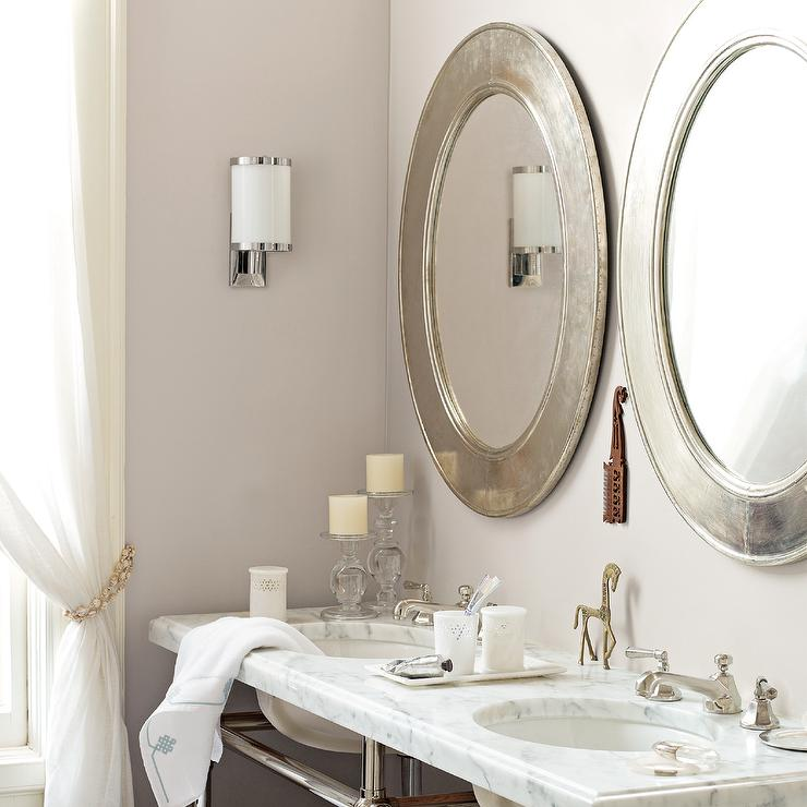Silver bathroom mirrors traditional bathroom serena - Traditional bathroom mirror with lights ...