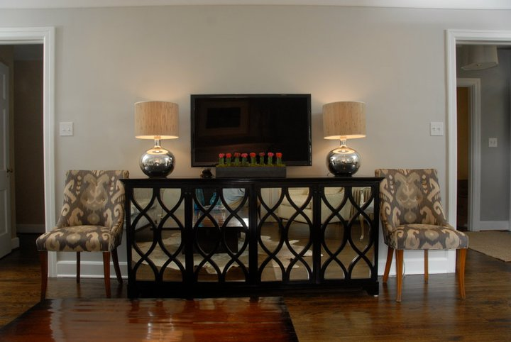 Mirrored Media Cabinet Contemporary Living Room