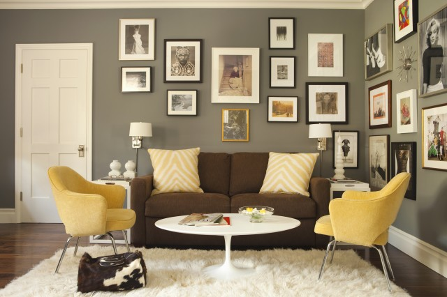 Brown and Yellow Living Room - Contemporary - living room - Tim Barber