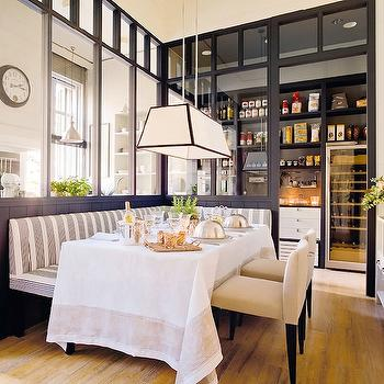 Striped Banquette, Transitional, dining room, El Mueble