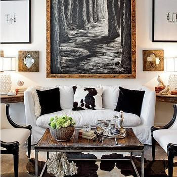 Black And White Cowhide Living Room Rug Design Ideas