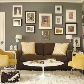 Contemporary Yellow And Gray Living Room Contemporary