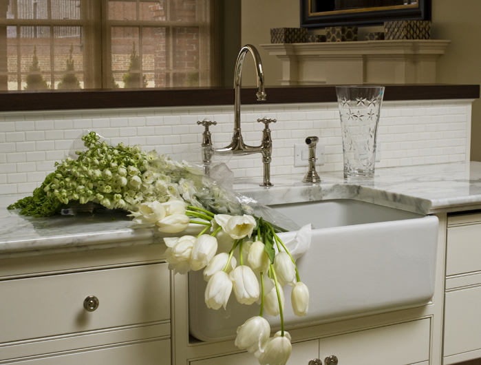 sink mini subway tile backsplash and polished nickel bridge faucet