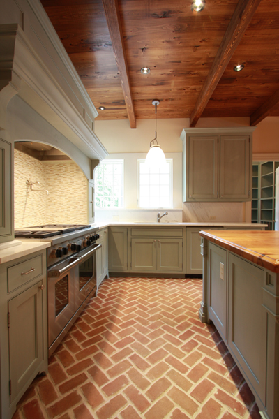 Brick floor kitchen transitional kitchen jones for Wood floor and ceiling