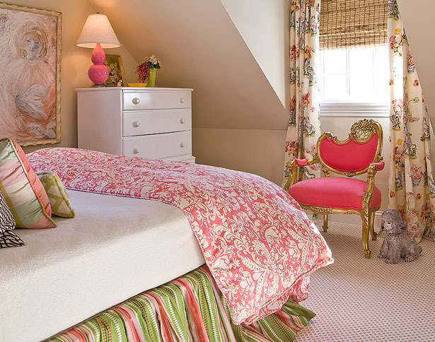 pink and green bedroom - contemporary - bedroom - anne hepfer designs